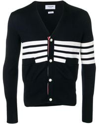 Thom Browne 4-bar Sailboat Intarsia Cardigan - Blue