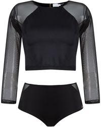 Brigitte Bardot Cropped top and hot pants set - Noir
