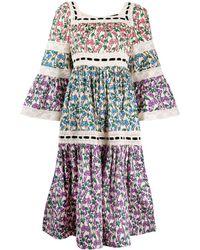 Marc Jacobs Runway Flare-sleeve Tiered Prairie Dress - Multicolour