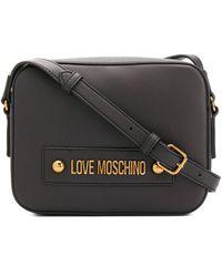 Love Moschino Logo Plaque Adjustable Strap Satchel Bag - Black