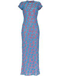 Eckhaus Latta Purple And Blue Shrunk Dress