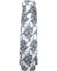 Oscar de la Renta Schulterfreies Abendkleid - Weiß
