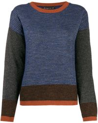 Phisique Du Role Paneled Houndstooth-pattern Sweater - Blue
