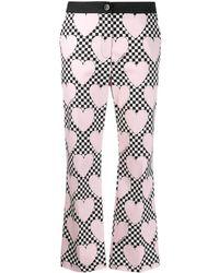 Love Moschino Укороченные Брюки Прямого Кроя В Шахматную Клетку - Розовый
