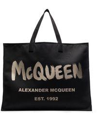 Alexander McQueen Graffiti Logo Tote - ブラック