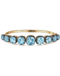 Fred Leighton 18kt Yellow Gold And Oxidised Sterling Silver Signed Graduated Blue Topaz Bangle - Metallic