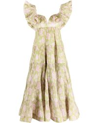 Zimmermann Lovestruck Pleated Floral-print Gown - Green