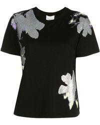 3.1 Phillip Lim Daisy デコラティブ Tシャツ - ブラック