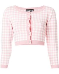 Boutique Moschino - Cropped Checked Cardigan - Lyst