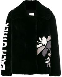 Each x Other - Text And Flower Print Peacoat - Lyst