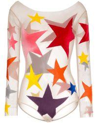 Alexia Hentsch - Star Print Appliqué Bodysuit - Lyst
