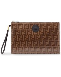 Fendi Large Flat Pouch - Brown