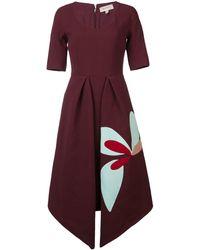 Delpozo Pointed Hem Dress - Red