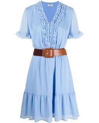 Liu Jo ラッフル Vネックドレス - ブルー