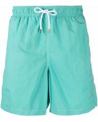 Hackett Drawstring-waist Flap-pocket Swim Shorts - Blue