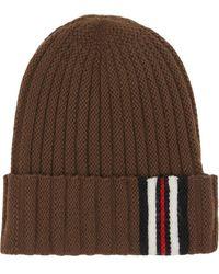 Burberry Brown Ribbed Stripe Wool Beanie Hat