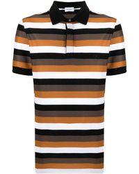 Ferragamo Полосатая Рубашка Поло С Короткими Рукавами - Коричневый