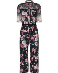 Erdem Vala Floral-print Jacquard Jumpsuit - Black