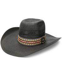 Jessie Western Straw Feather Hat - Black
