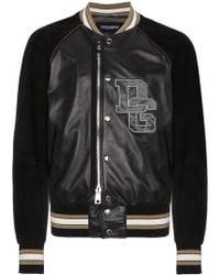 Dolce & Gabbana - Leather Bomber Jacket With Logo - Lyst