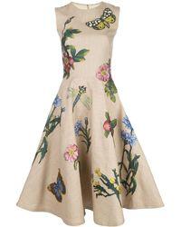 Oscar de la Renta Kleid mit Blumenmuster - Mehrfarbig
