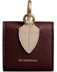 Burberry Kleine Vierkante Leren Muntcassette - Rood