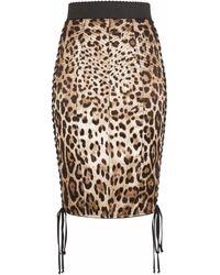 Dolce & Gabbana - Юбка Из Эластичного Шелка С Леопардовым Принтом - Lyst