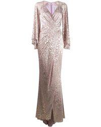 Talbot Runhof メタリック ロングドレス - ピンク