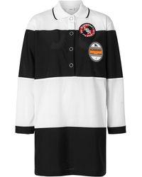 Burberry Logo Graphic Striped Mesh Polo Shirt Dress - Black