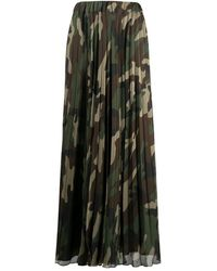 P.A.R.O.S.H. Camouflage Pleated Maxi Skirt - Green
