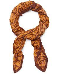 Ermenegildo Zegna グラフィック スカーフ - オレンジ