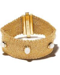 Carolina Bucci 18kt Yellow Gold Xviii Pearl Studded Woven Bracelet - Metallic