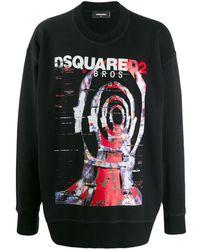 DSquared² Sweater Met Print - Zwart