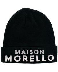 Frankie Morello Branded Knitted Hat - Black