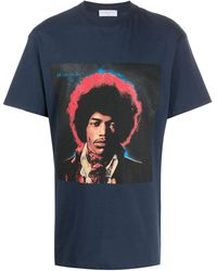ih nom uh nit Jimi Hendrix-print Cotton T-shirt - ブルー