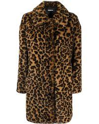 P.A.R.O.S.H. Однобортное Пальто С Леопардовым Принтом - Коричневый