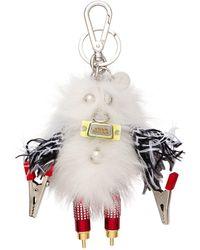Prada Rufus Fur Keychain Trick - White