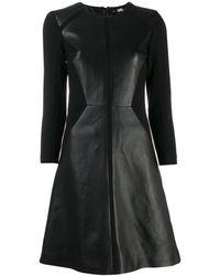 Karl Lagerfeld レザー パネル ドレス - ブラック