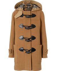 Burberry Wool Blend Duffle Coat - Brown