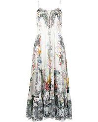 Camilla Платье На Тонких Бретелях С Цветочным Принтом - Белый
