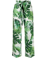 Twin Set Palm Print Paperbag Rousers - Green