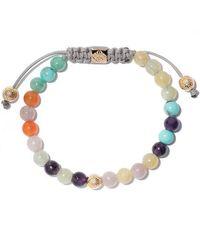 Shamballa Jewels - 18kt Yellow Gold, Diamond, Emerald And Green & Yellow Sapphire Beaded Non-braided Bracelet - Lyst