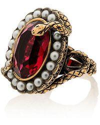 Alexander McQueen - Metallic Snake Jewel Faux Pearl Ring - Lyst