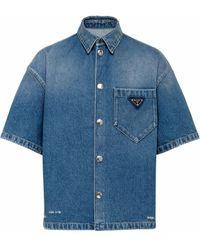 Prada ロゴ デニムシャツ - ブルー