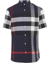Burberry Men's Windsor Check Short-sleeve Shirt - Blue