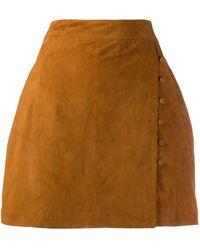 L'Autre Chose サイドボタン Aラインスカート - ブラウン