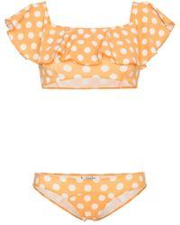 Lisa Marie Fernandez - Mira Polka Dot Print Flounce Bikini - Lyst