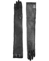 Burberry Guantes ribeteados con apliques - Negro