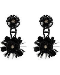 Biyan Pendientes de clip con aplique floral - Negro