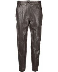 Luisa Cerano Crinkled Faux-leather Slim-cut Trousers - Multicolour